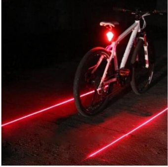 Bicycle LED Light 2 Lasers Night Mountain Bike Tail Light TaillightMTB Safety Warning Bicycle Rear Lamp - intl