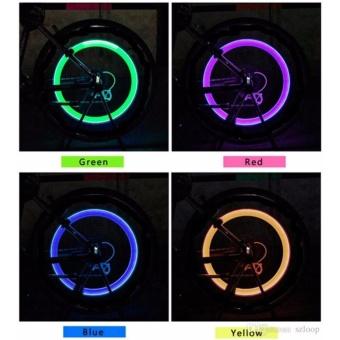 Bike Bicycle BMX Car Wheel Tyre Valve Cap Spoke Neon LED Light Setof 2 - 3