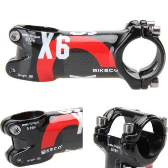 Bikeco Handlebar with 3K Carbon Fiber Ultralight Stem (Red) (80mm)- intl - 2