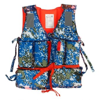 Blue Camouflage Adult Boating Swimming Life Jacket Vest with Whistle - intl Price Philippines