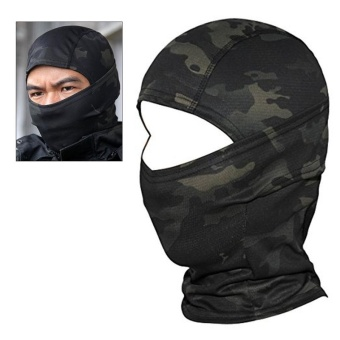 Camouflage Hood Ninja Outdoor Cycling Motorcycle Hunting Military Tactical Helmet Liner Gear Full Face Mask (Black Camouflage) - intl