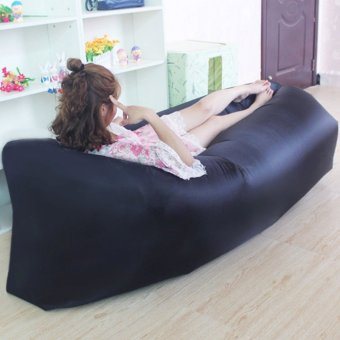 Camping Essentials Inflatable Camping Sofa Banana Sleeping Bed/BagHangout Nylon Lazy Bag Air Bed/Chair/Couch/Lounger (Black)