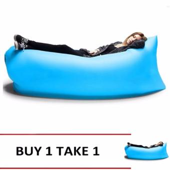 Camping Essentials Inflatable Camping Sofa Banana Sleeping Bed/BagHangout Nylon Lazy Bag Air Bed/Chair/Couch/Lounger (Blue) Buy1Take1
