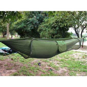 Camping Hammock,Hammock Tent Pop Up Mosquito Net Ultralight Durable Parachute Fabric Hammock for Outdoor( ArmyGreen) - Intl Price Philippines
