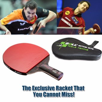Carbon Fiber Table Tennis Racket Blade with Double Face RacketRubber Bat Boll NANO-V with Bag Table Tennis Bat - intl