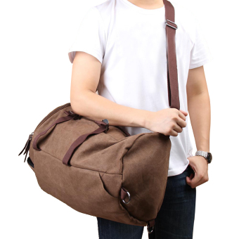 Chic Canvas Man Backpack Rucksack Travel Outdoor Bag Duffle LargeCoffee - 2