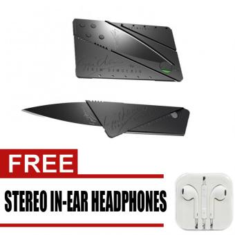 Credit Card Type Folding Safety Knife Multi-tool Kit (Black) withfree Stereo In-Ear Headphone (White)