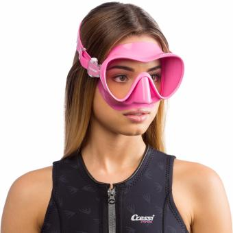 Cressi F1 Pink Frameless Scuba Diving Mask Tempered Glass SingleLens One Window Low Volume Snorkeling Swimming Mask - 3