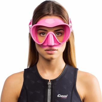 Cressi F1 Pink Frameless Scuba Diving Mask Tempered Glass SingleLens One Window Low Volume Snorkeling Swimming Mask - 2