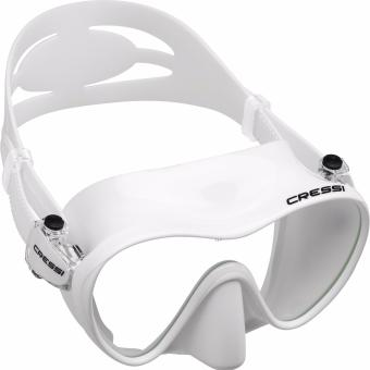 Cressi F1 White Frameless Scuba Diving Mask Tempered Glass Single Lens One Window Low Volume Snorkeling Swimming Mask