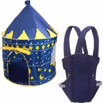 Cubby House Tent for Kids (Blue) With Baby Carrier (Navy Blue)