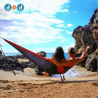 D&D SYY018 Double Person Portable Hammock Swing Bed Travel KitsAssorted Color Hanging Sleeping Bed Parachute OutdoorHammocks(Black+Red) Price Philippines