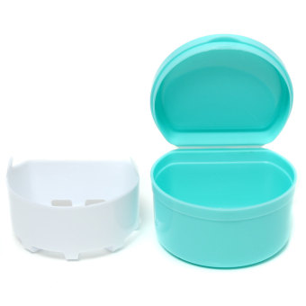 Dental Orthodontic Retainer Denture Storage Case Box MouthguardContainer Tray Light blue Audew - 5