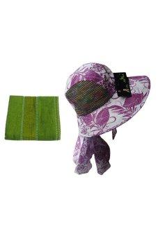 DK Trend Ladies Sun Hat Floral (Violet) with Bicycle Hand Towel (Green) Bundle