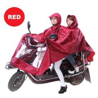 Double 2-Person Waterproof Motor Raincoat (Red) Price Philippines