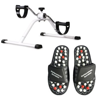 Easy Exercise Bike With Acupuncture Foot Reflex Massage Slippers(Black)