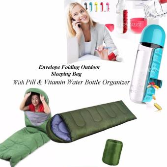 Envelope Folding Outdoor Sleeping Bag (Green) with Pill &Vitamin Water Bottle Organizer (Blue)