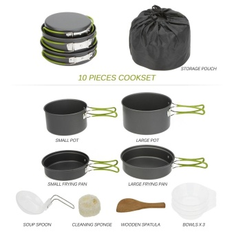 Escabyss Portable Outdoor Tableware Camping Cookware 2-3 People Multifunctional Portable Cooking Set for Outdoor Stove - intl