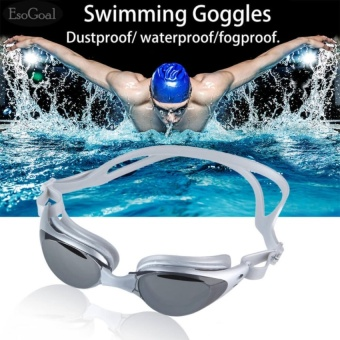 EsoGoal Adult Non-Fogging Anti UV Swim Eyeglass Swimming Goggles (Silver Gray) - intl