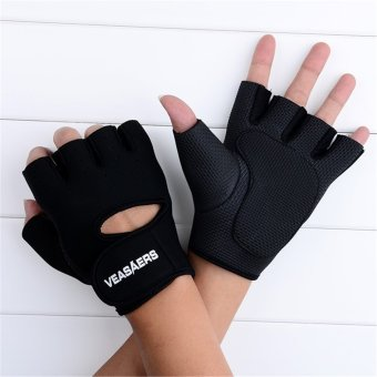 ETOP Cycling GYM Half Finger Gloves Exercise Training (Black)