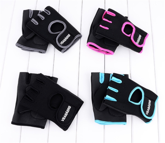 ETOP Cycling GYM Half Finger Gloves Exercise Training (Black) - 2
