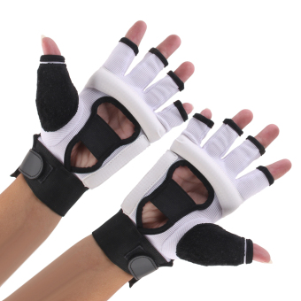 EVA Pad Taekwondo Hand Protector Gloves Karate Sparring Boxing GearWhite XL