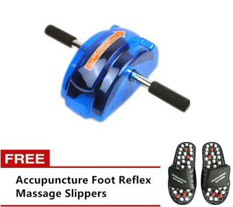 Exercise AB Roller Slide (Blue) with Free Acupuncture Foot Reflex Massage Slippers (Black)