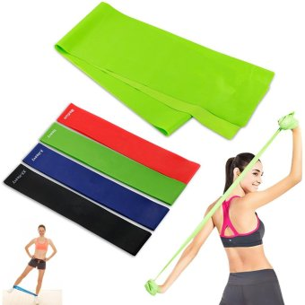 Exercise Resistance Bands - 4 Resistance Loop bands & Long Fitness Stretch Band Yoga Straps Home Gym Workout For Legs Arms Pull Up Strength Training, Physical Therapy Theraband, Pilates w bag - intl