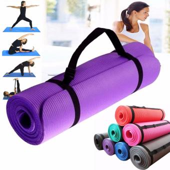 Extra Thick Yoga Mat Exercise With Carrying strap (Purple)