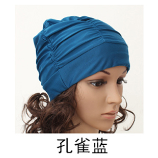 Fashion pleated large Plus-sized swimming cap cloth