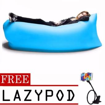 Fast inflatable Banana Bed , Sleeping bed, Air sofa (Blue)with freeLazypod (color may vary)