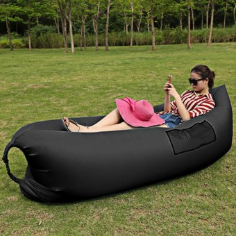 Fast Inflatable Sleep Bed Air Sofa Beach Bed Banana Lounger Air BedLazy Sleeping Bag With Side Pocket - intl