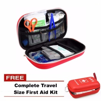 First Aid Kit Bag Emergency Medical Survival Rescue Box with FREEComplete Travel Size Emergency First Aid Kit Bag