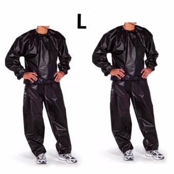 Fitness Loss Weight Sweat Suit Sauna Suit Exercise Gym Size L(Black) Set of 2