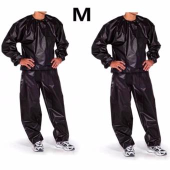 Fitness Loss Weight Sweat Suit Sauna Suit Exercise Gym Size M(Black) Set of 2