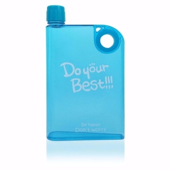 Flat Water Bottle Notebook Portable Cup Water Dispenser Blue