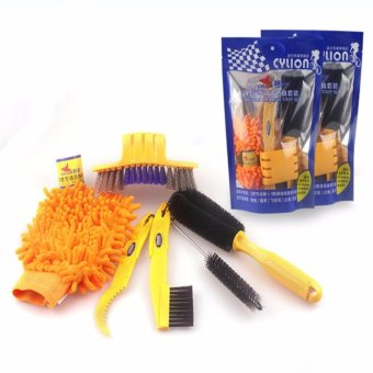 Fortress Cylion 6pcs Bicycle Chain Cleaner Cycling Clean Tire Brushes Tool Kits Set Mountain Road Bike Cleaning Gloves Accessories