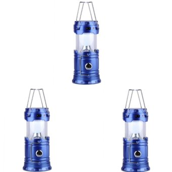 G-85 6 LED Solar Camping Lamp Rechargeable Lantern Set of 3 (Blue)