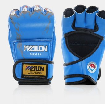 Gants de boxe Gloves Half-finger Sandbag Fighting Boxing Gloves(Blue) - intl