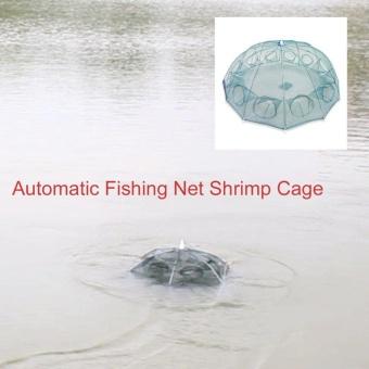 GOOD 12 Holes Nylon Automatic Fishing Net Shrimp Cage Foldable Fishing Cast Net - 3