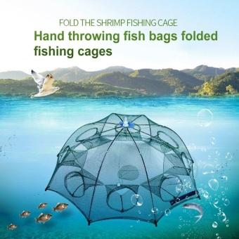 GOOD 12 Holes Nylon Automatic Fishing Net Shrimp Cage Foldable Fishing Cast Net - 2
