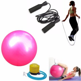 Gym Ball (Pink) with Exercise Tool Boxing Skipping Jump RopeAdjustable Bearing Speed Fitness (Black)