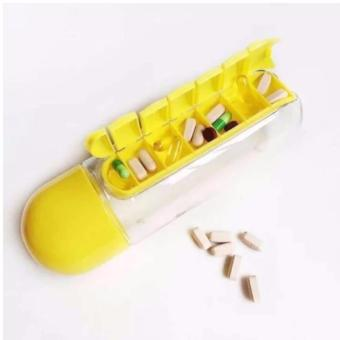 Gym Ball (Silver) with Pill & Vitamin Water Bottle Organizer(Yellow) - 4