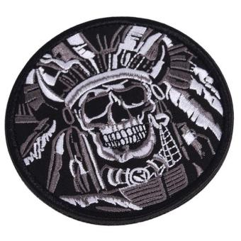 Hang-Qiao Embroidered Patch Skeleton Tactical Velcro Armband Badge(Grey)