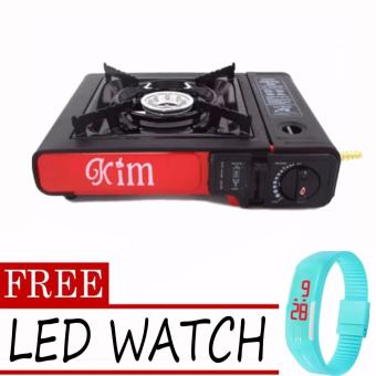 Happy Home 2-in-1 Durable Portable Gas Stove (Black-Red)with FREE LED Watch (Color May Vary) Price Philippines