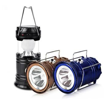 HEL-5800T 6 LED Solar Camping Lamp Rechargeable Lantern (Black)