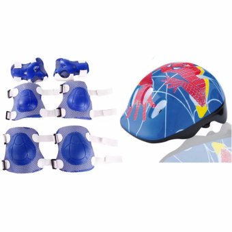 Helmet Sport Safety Protective Gear with Elbow Wrist Knee Pads forOutdoor Sports (Blue) Price Philippines