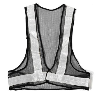 Hi-Viz Traffic Safety Reflector Vest (Black/White)