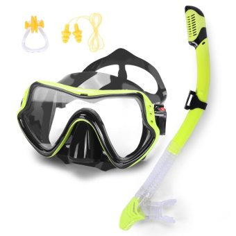 High Quality Water Sports Training Silicone Mask Snorkeling Diving Mask Full Dry Glasses Goggles Face Plates Breathing Tube with Ear Plug Nose Clip - intl