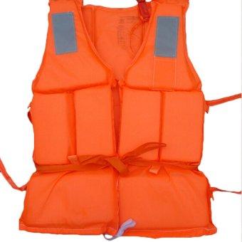HKS Flood Foam Swimming Life Jacket Vest + Whistle Orange - Intl